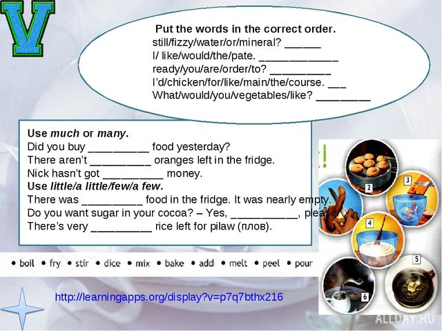 http://learningapps.org/display?v=p7q7bthx216 Put the words in the correct or...