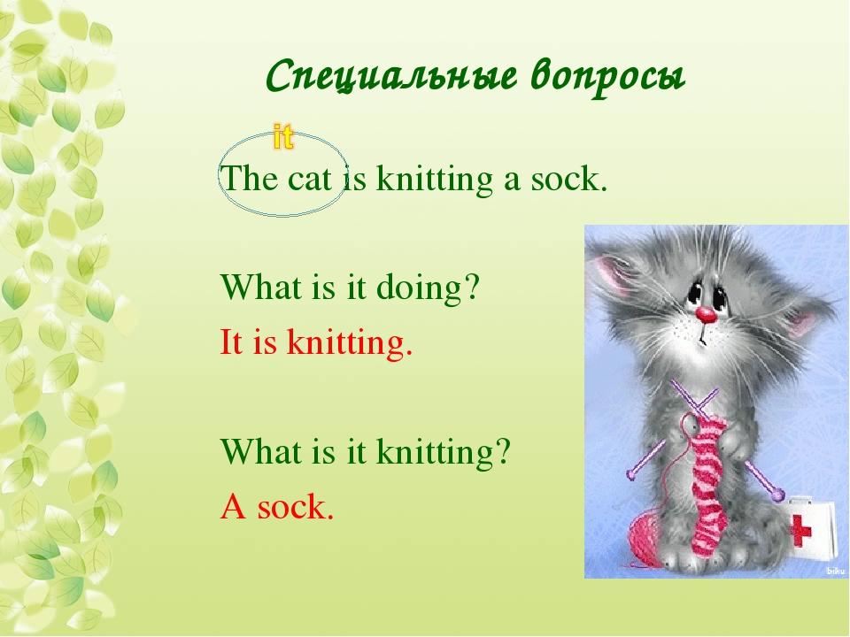 Специальные вопросы The cat is knitting a sock. What is it doing? It is knitt...