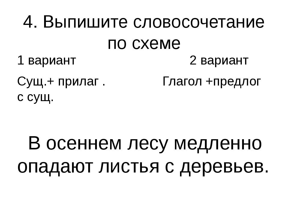 4. Выпишите словосочетание по схеме 1 вариант 2 вариант Сущ.+ прилаг . Глагол...