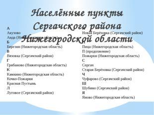Населённые пункты Сергачского района Нижегородской области А Акузово Анда (Ни