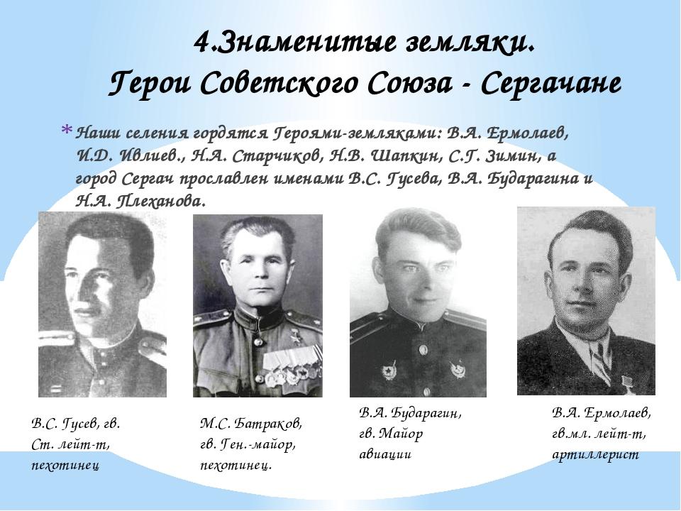 Наши селения гордятся Героями-земляками: В.А. Ермолаев, И.Д. Ивлиев., Н.А. Ст...