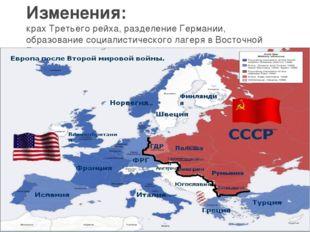 Изменения: крах Третьего рейха, разделение Германии, образование социалистиче