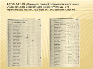 Ф.77 Оп.1Д. 1332 «Ведомость текущей успеваемости воспитанниц Ставропольского