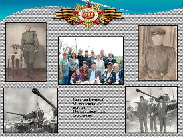 Ветеран Великой Отечественной войны Поперешняк Петр тихонович .
