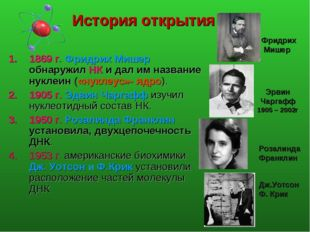 История открытия 1869 г. Фридрих Мишер обнаружил НК и дал им название нуклеин
