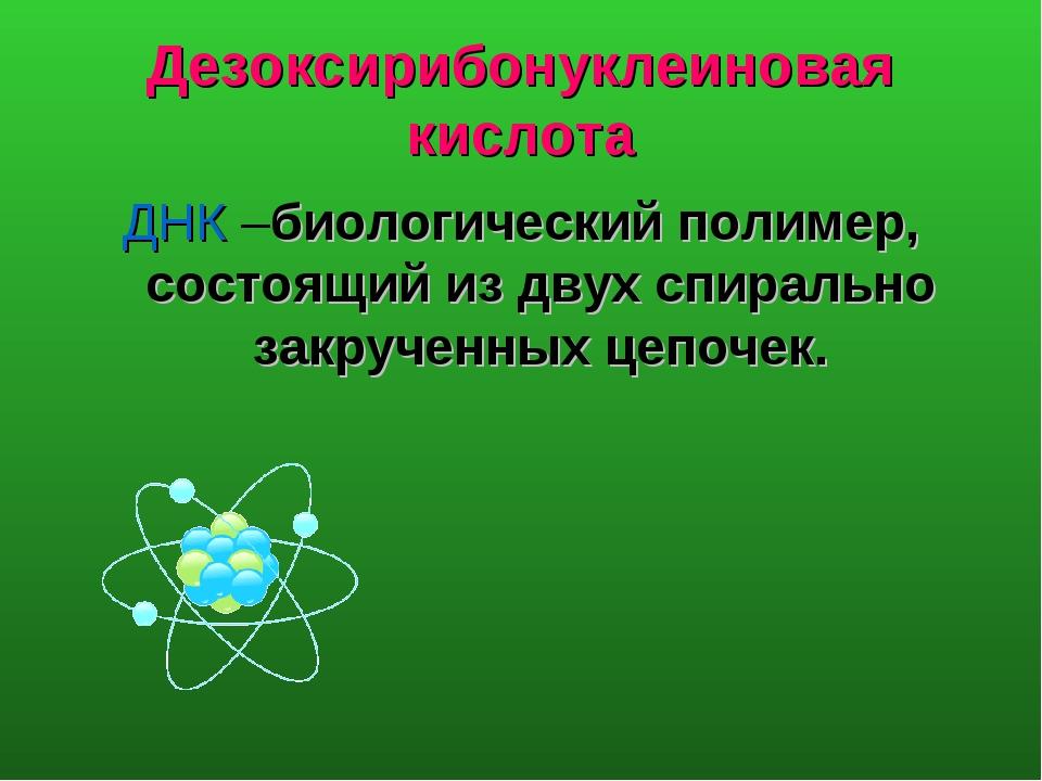 Дезоксирибонуклеиновая кислота ДНК –биологический полимер, состоящий из двух...