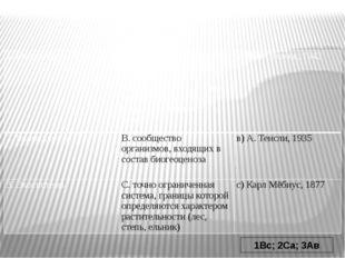 1Вс; 2Са; 3Ав 1. Биоценоз А. открытая совокупность совместно обитающих орган
