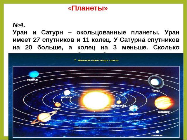 «Планеты» №4. Уран и Сатурн – окольцованные планеты. Уран имеет 27 спутников...