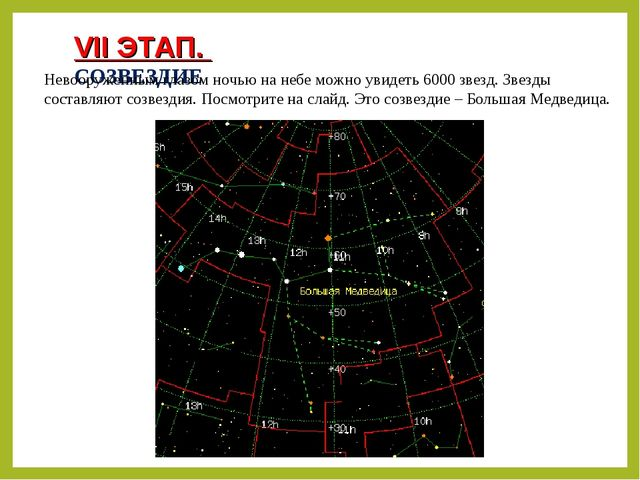 VII ЭТАП. СОЗВЕЗДИЕ Невооруженным глазом ночью на небе можно увидеть 6000 зве...