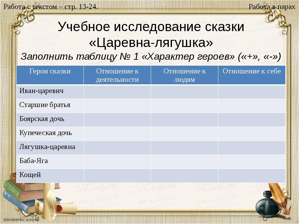 Учебное исследование сказки «Царевна-лягушка» Заполнить таблицу № 1 «Характер...