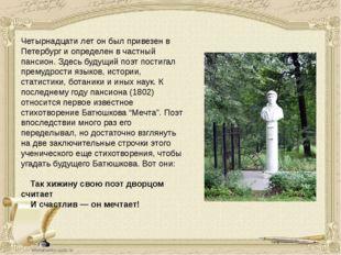 Четырнадцати лет он был привезен в Петербург и определен в частный пансион. З