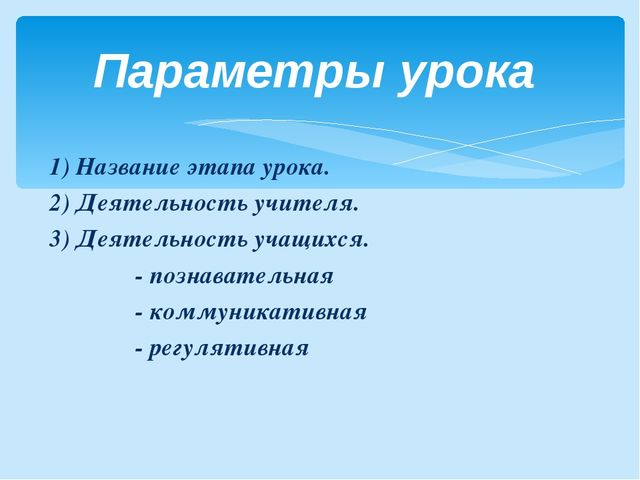 1) Название этапа урока. 2) Деятельность учителя. 3) Деятельность учащихся....