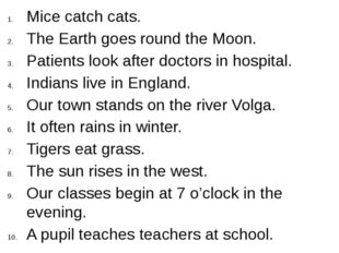 Mice catch cats. The Earth goes round the Moon. Patients look after doctors i
