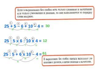 25 + 5 – 6 + 10 – 4 = 4 2 3 1 30 24 34 30 30 25 : 5 х 6 : 10 х 4 = 4 3 2 1 5