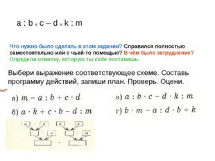 a : b x c – d x k : m Что нужно было сделать в этом задании? Справился полнос