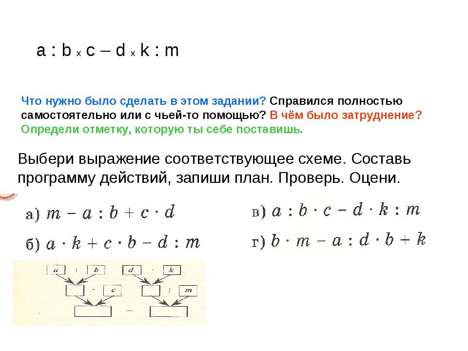a : b x c – d x k : m Что нужно было сделать в этом задании? Справился полнос...