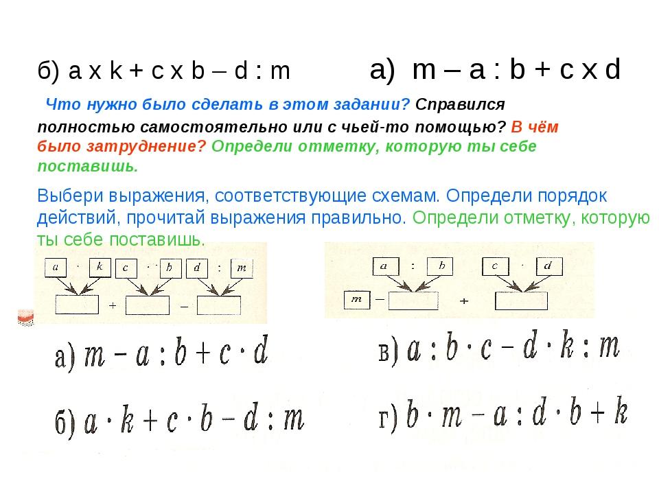 б) a x k + c x b – d : m а) m – a : b + c x d Что нужно было сделать в этом з...