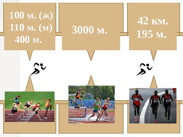 Бег С барьерами С препятствиями Марафон 3000 м. 42 км. 195 м. 100 м. (ж) 110...