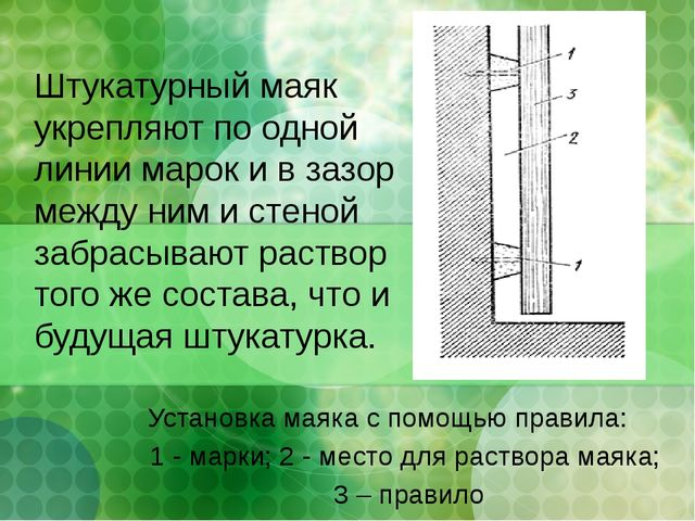 Установка маяка с помощью правила: 1 - марки; 2 - место для раствора маяка; 3...