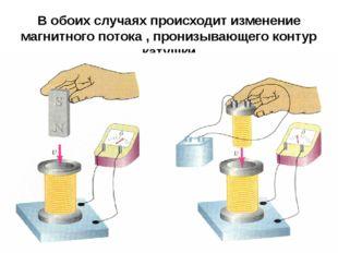 В обоих случаях происходит изменение магнитного потока , пронизывающего конту