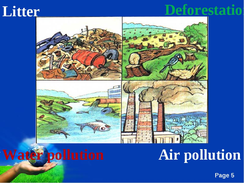 Deforestation Litter Air pollution Water pollution Free Powerpoint Templates...