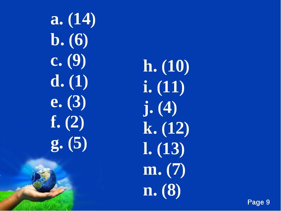 h. (10) i. (11) j. (4) k. (12) l. (13) m. (7) n. (8) a. (14) b. (6) c. (9) d....