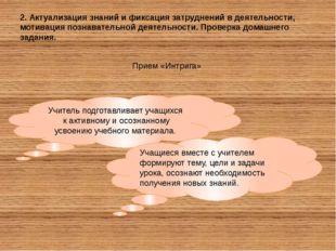 2. Актуализация знаний и фиксация затруднений в деятельности, мотивация позна