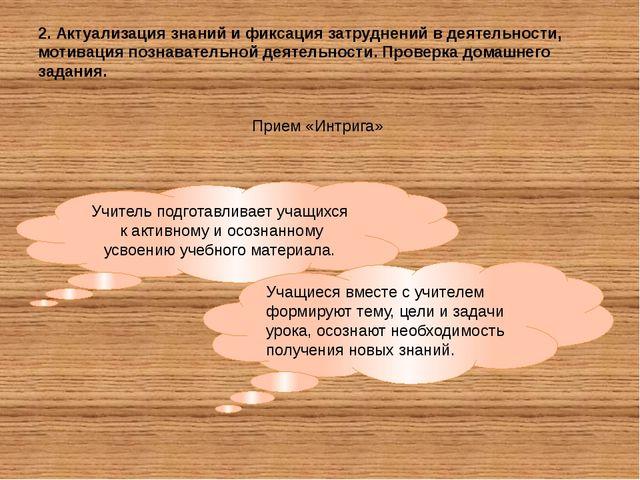 2. Актуализация знаний и фиксация затруднений в деятельности, мотивация позна...