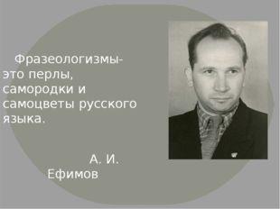 Фразеологизмы- это перлы, самородки и самоцветы русского языка. А. И. Ефимов