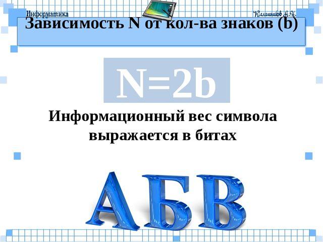 Зависимость N от кол-ва знаков (b) N=2b Информационный вес символа выражается...