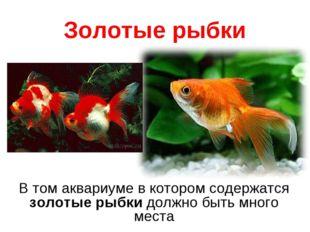 Золотые рыбки В том аквариуме в котором содержатся золотые рыбкидолжно быть