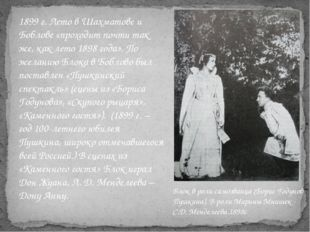 1899 г. Лето в Шахматове и Боблове «проходит почти так же, как лето 1898 года