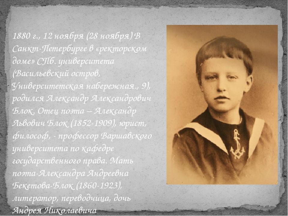 1880 г., 12 ноября (28 ноября) В Санкт-Петербурге в «ректорском доме» СПб. ун...