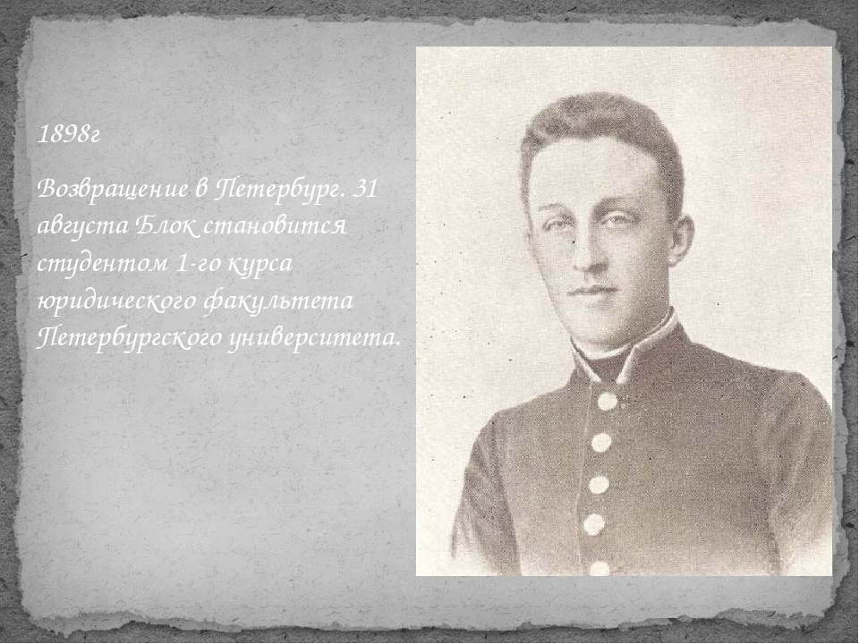 1898г Возвращение в Петербург. 31 августа Блок становится студентом 1-го курс...