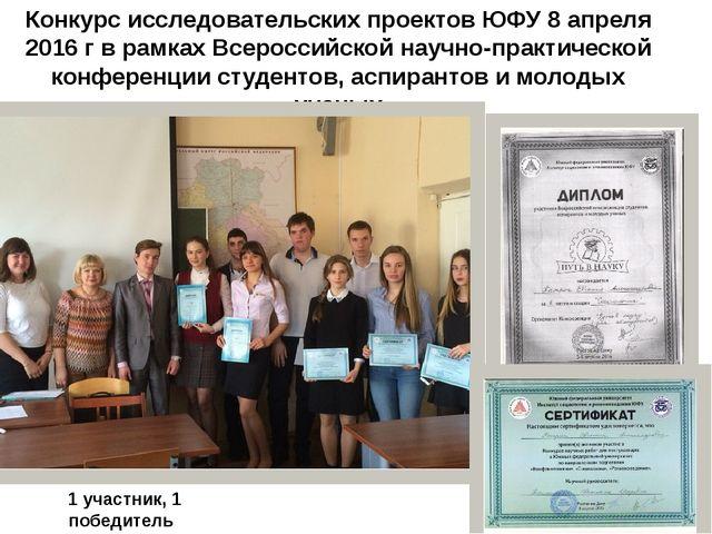 Конкурс исследовательских проектов ЮФУ 8 апреля 2016 г в рамках Всероссийской...
