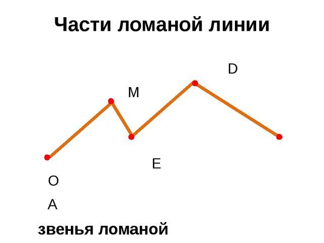 Части ломаной линии D М Е О А звенья ломаной вершины ломаной