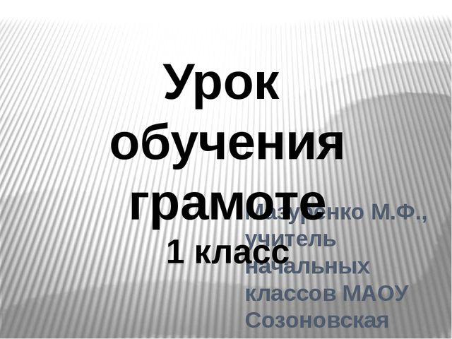 Мазуренко М.Ф., учитель начальных классов МАОУ Созоновская СОШ Урок обучения...