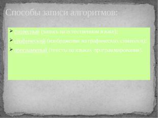 словесный (запись на естественном языке); графический (изображения из графиче