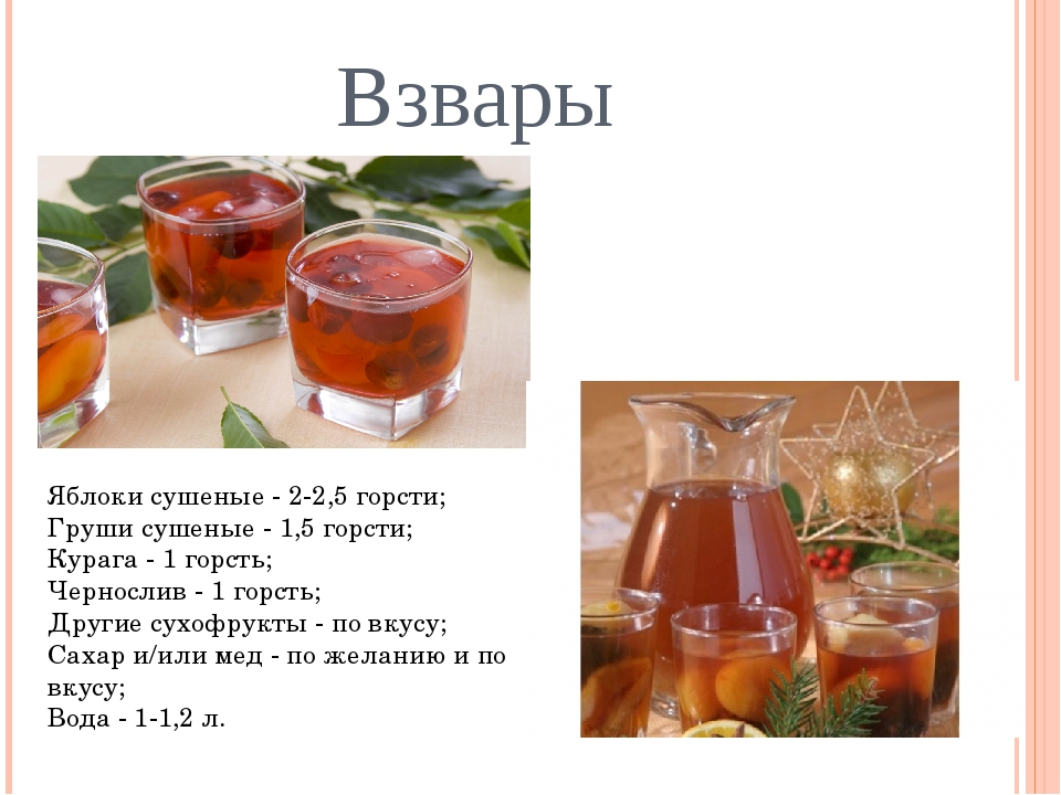 Взвары Яблоки сушеные - 2-2,5 горсти; Груши сушеные - 1,5 горсти; Курага -...
