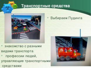 Транспортные средства Выбираем Пудинга знакомство с разными видами транспорта