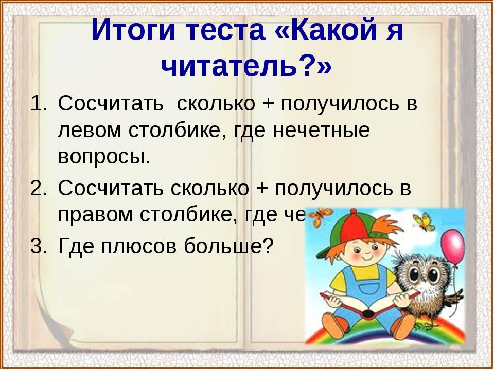 Итоги теста «Какой я читатель?» Сосчитать сколько + получилось в левом столби...