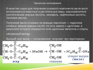 В качестве сырья для получения основного компонента мыла могут использоваться