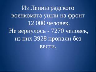 Из Ленинградского военкомата ушли на фронт  12 000 человек.  Не вернулось - 7