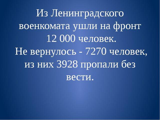 Из Ленинградского военкомата ушли на фронт  12 000 человек.  Не вернулось - 7...