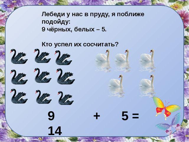 Лебеди у нас в пруду, я поближе подойду: 9 чёрных, белых – 5. Кто успел их со...
