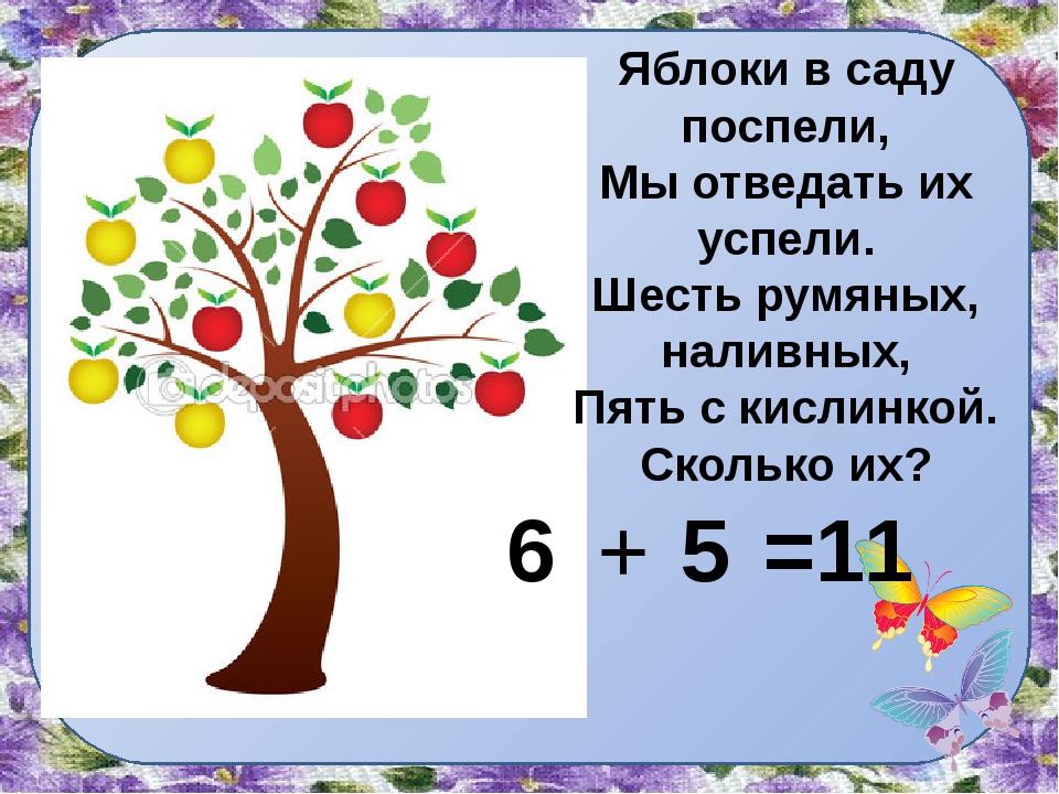 Яблоки в саду поспели, Мы отведать их успели. Шесть румяных, наливных, Пять с...