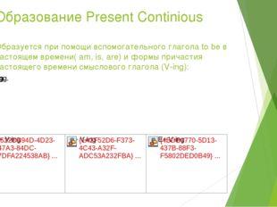 Образование Present Continious Образуется при помощи вспомогательного глагола