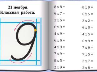 21 ноября. Классная работа. 8 х 8 = 6 х 7 = 3 х 5 = 6 х 9 = 4 х 9 = 6 х 6 = 4
