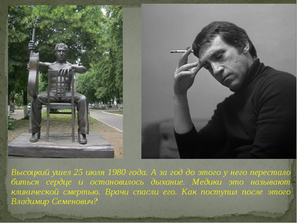 Высоцкий ушел 25 июля 1980 года. А за год до этого у него перестало биться се...
