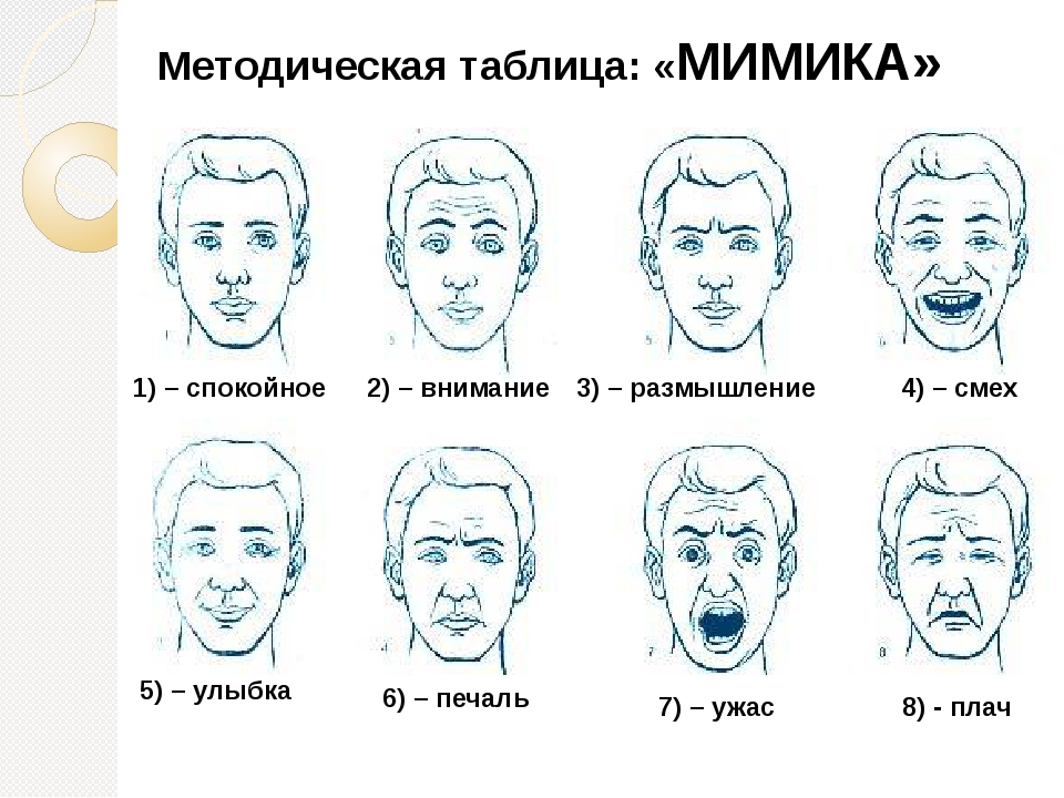 Методическая таблица: «МИМИКА» 1) – спокойное 2) – внимание 3) – размышление...